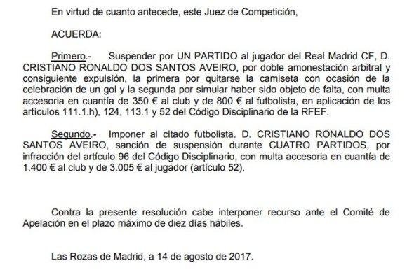 sancion ronaldo