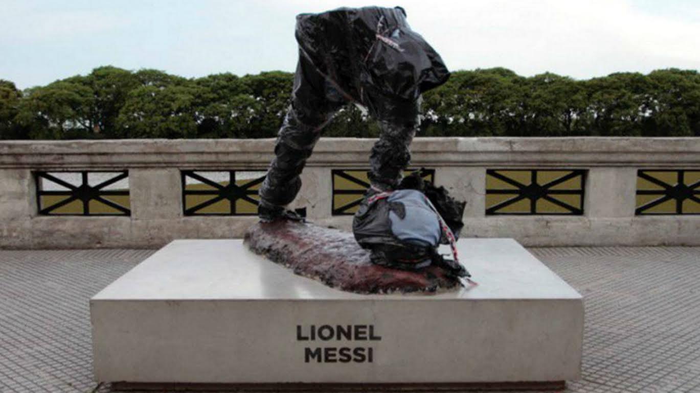 Messi statue cut in half as vandals destroy tribute to Barcelona superstar