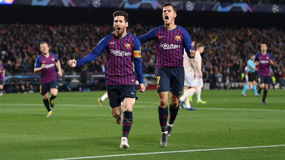 Image result for Pics from the Barcelona 3-0 win against Manchester United UCL game Coutinho's goal