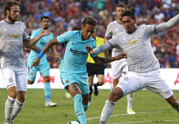 Image result for Neymar scores as Barcelona beat Man Utd 1-0