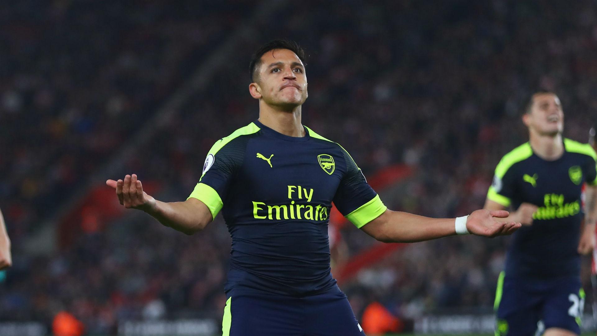 Alexis Sanchez celebrates fine goal for Arsenal against Southampton
