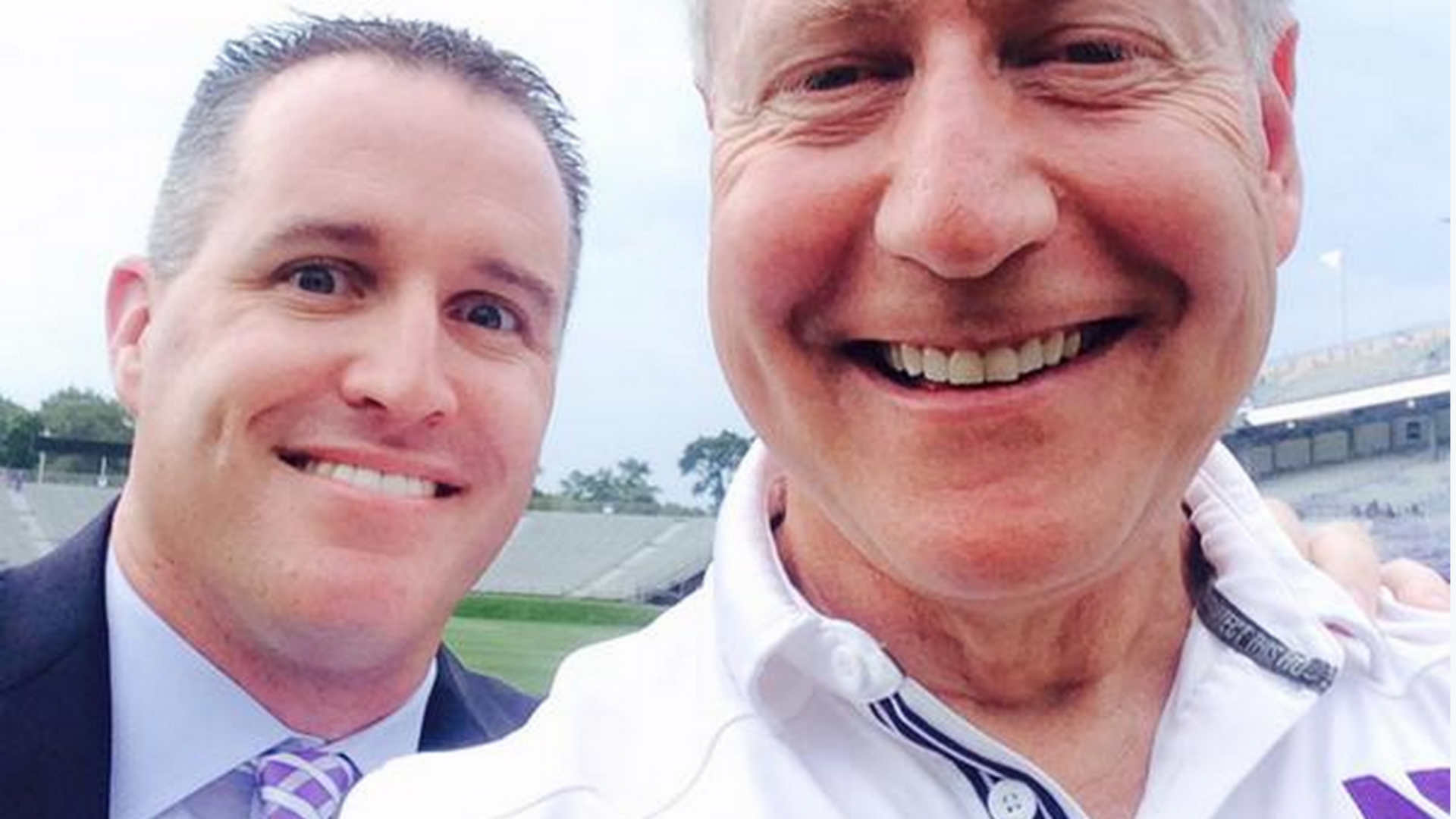 selfies and signed football with pat fitzgerald that ll cost you 125 ncaa [ 1920 x 1080 Pixel ]
