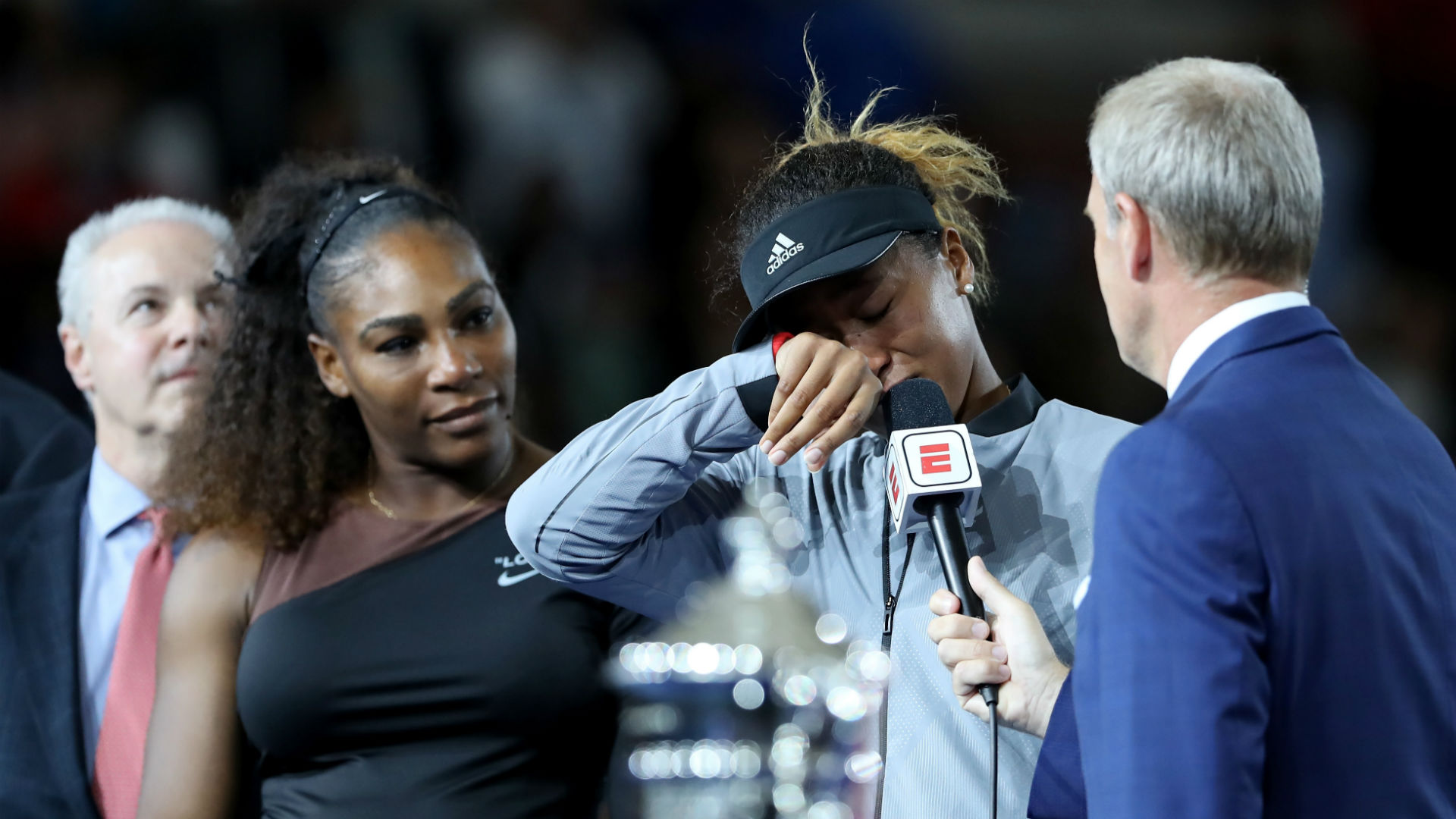 Image result for (Video) Naomi Osaka apologises for beating Serena Williams