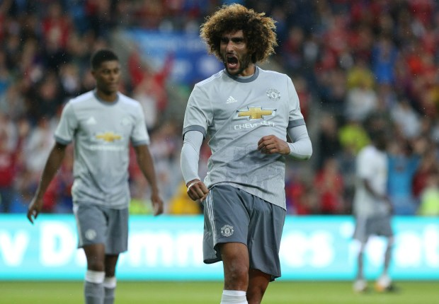 Marouane Fellaini after scoring for Manchester United against Valerenga