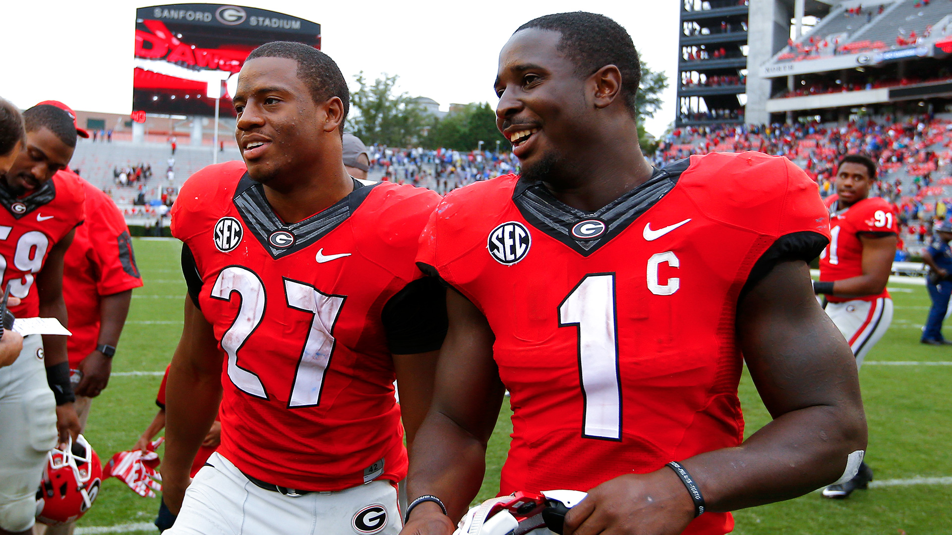 Image result for sony michel and nick chubb