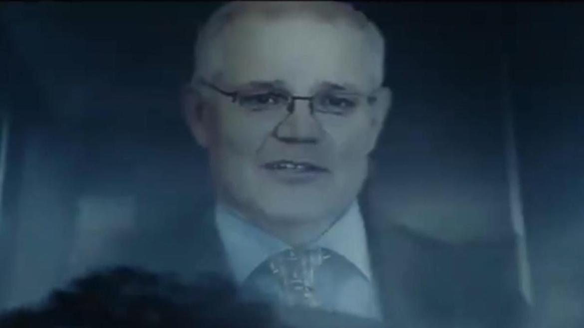 The video shows Mr Morrison running over a group of workers.