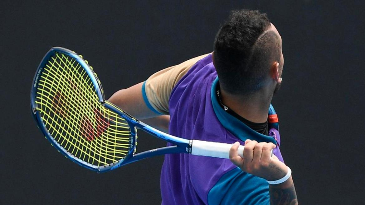 Australia's Nick Kyrgios prepares to throw his racket into the stands during his match against Croatia's Borna Coric.