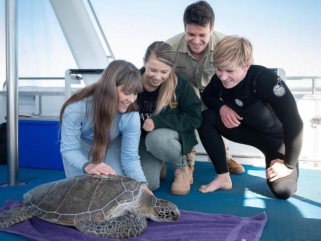 Terri, Bob, Bindi and Chandler with a turtle before releasing it back into the ocean.