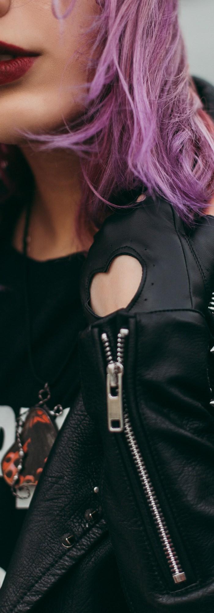 Woman Wears Black Leather Zip-up Jacket