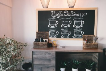 basket, chalkboard, coffee shop