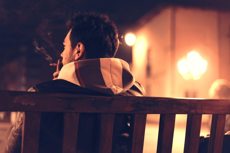 Free stock photo of bench, man, person, night