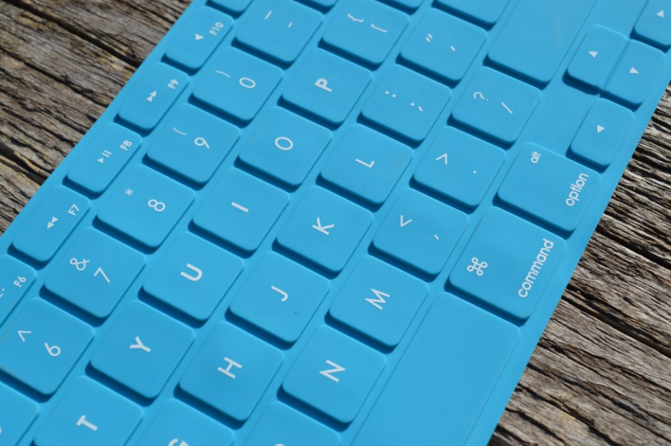 Blue Computer Keyboard on Gray Wooden Surface  Free Stock