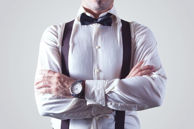 adult, arms crossed, bow tie