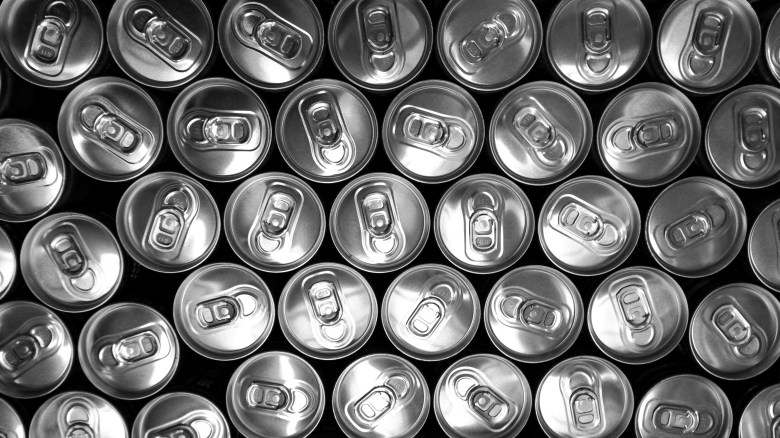 black-and-white, cans, doses