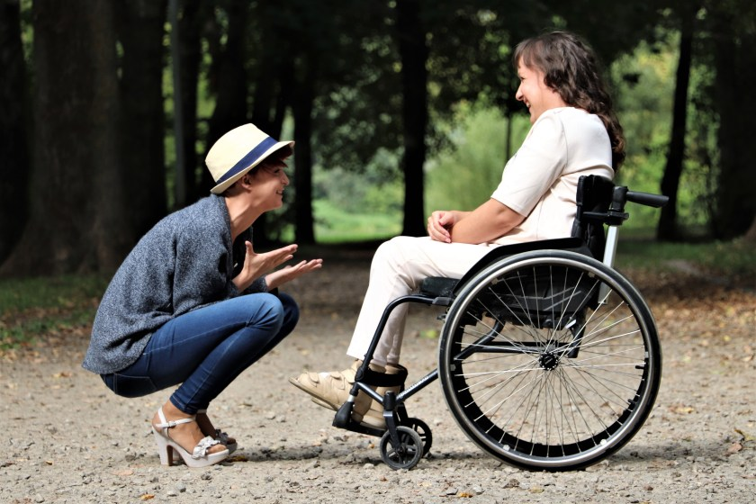 Woman on Black Folding Wheelchair, Healthy Relationships, Helpful, Happiness