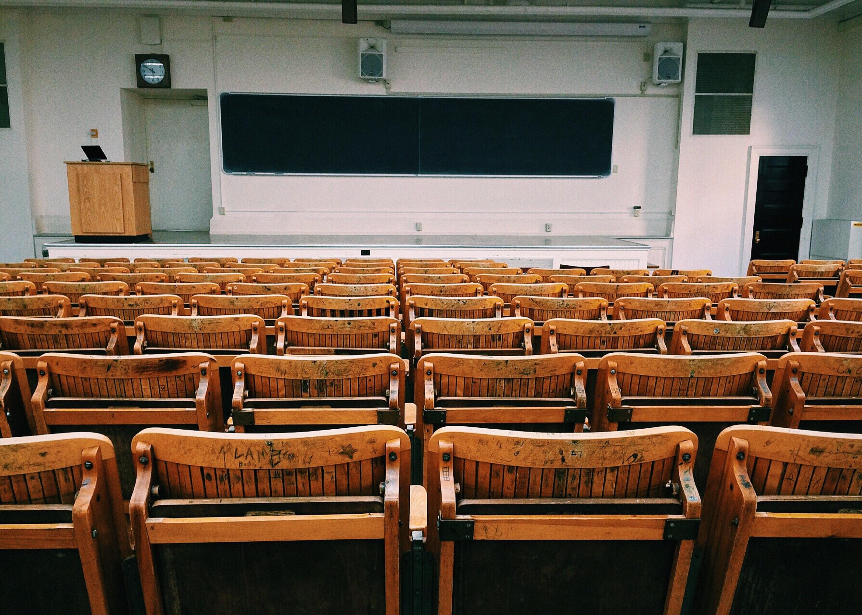 auditorium, benches, board