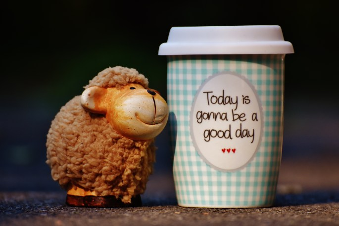 Brown Sheep Plush Toy Near Tumbler