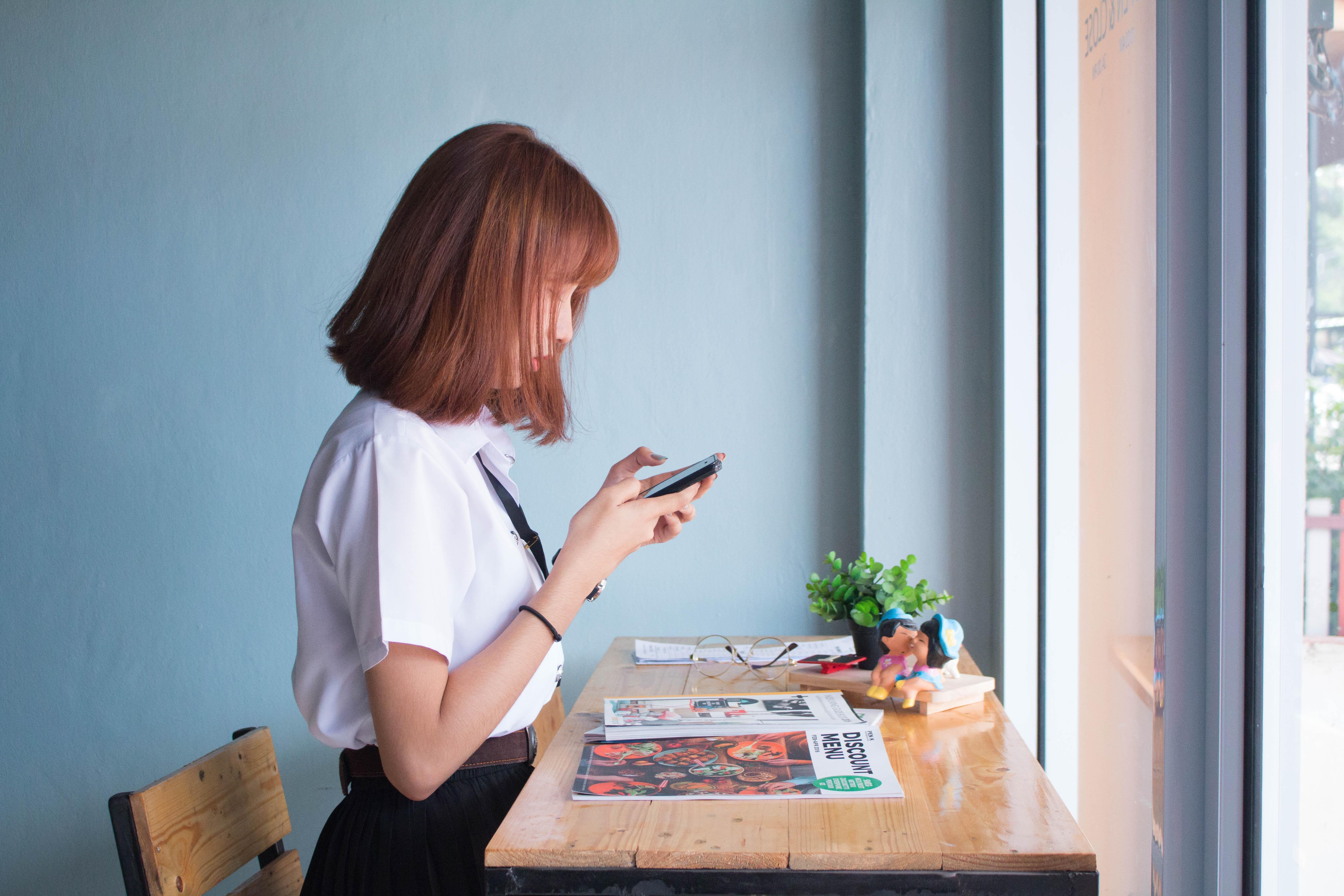 desk, girl, person