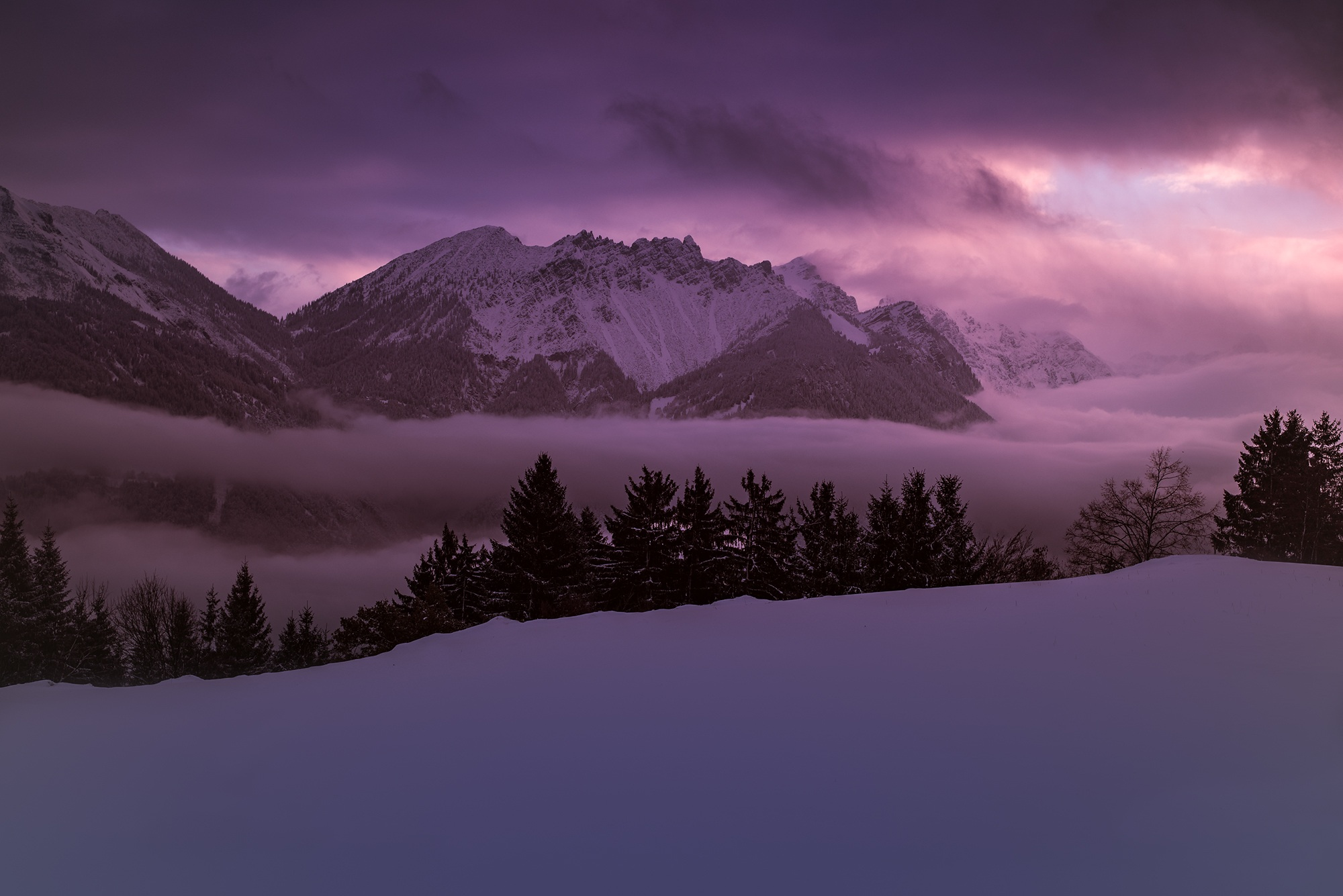 Purple Wallpaper Hd Brown Mountain Cover By Snow 183 Free Stock Photo