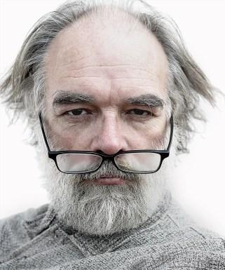 artist, elderly, glasses