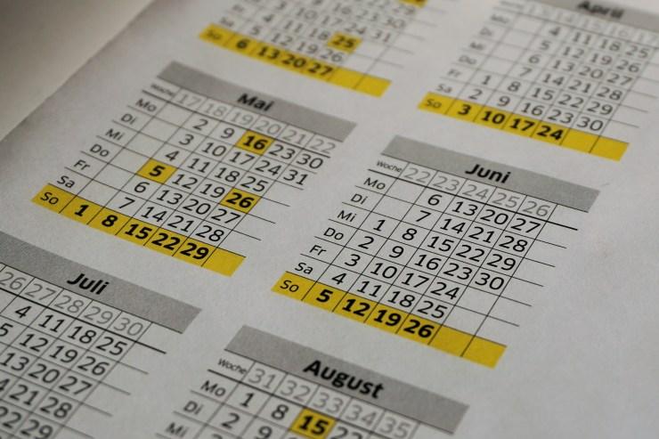 White and Yellow Calendar