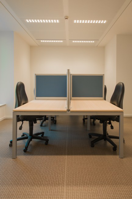 White Cubicle With Rolling Chairs  Free Stock Photo