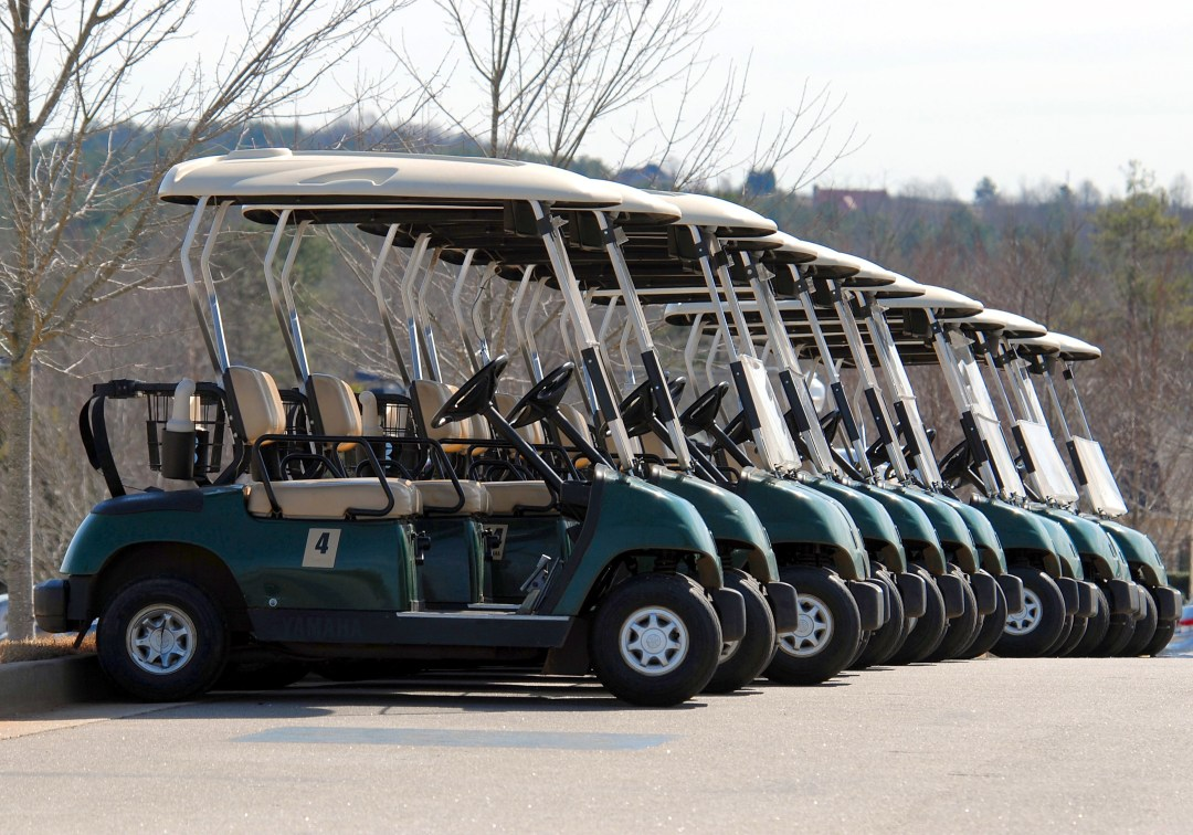 line of golf carts