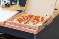 Pizza With Box on Table  Free Stock Photo