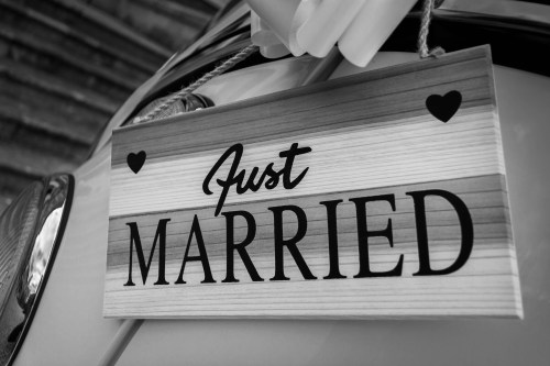 Grayscale Photo of Just Married Signage, wedding day