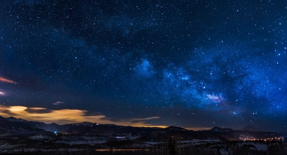 Black Mountains Under the Stars at Nighttime