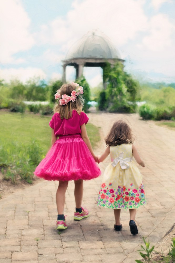This image has an empty alt attribute; its file name is little-girls-walking-summer-outdoors-pretty.jpg