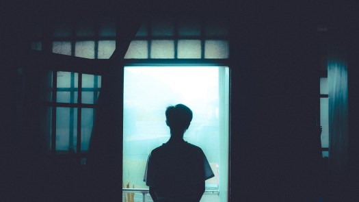 Silhouette Of Person Standing By The Door