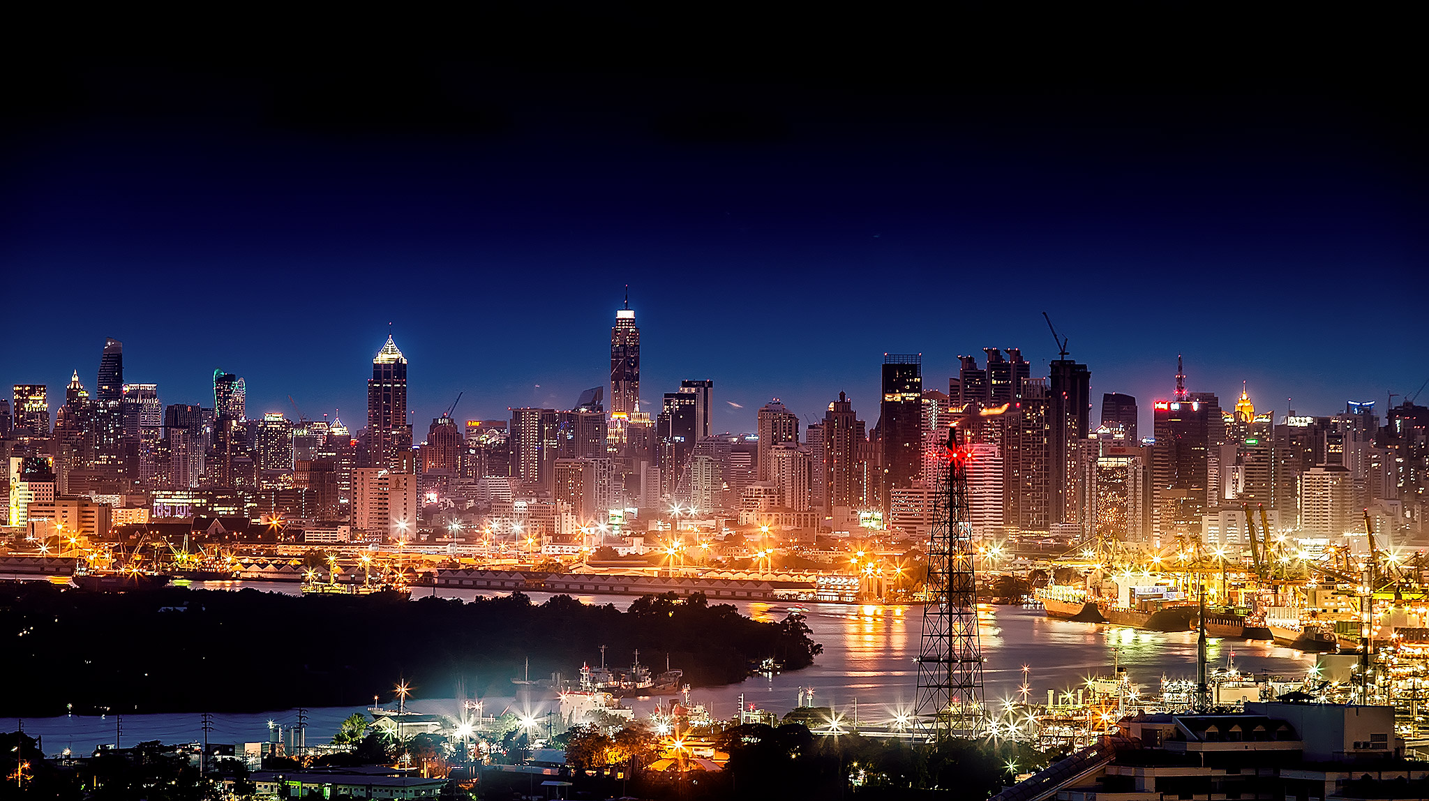Panoramic View of City Lit Up at Night  Free Stock Photo