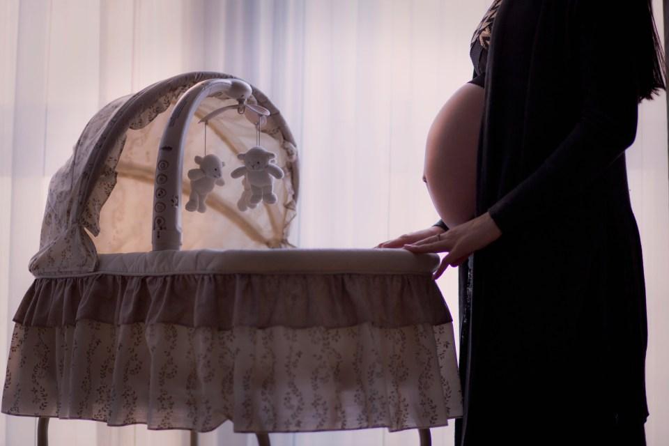 Pregnant Woman Standing Near White Brown Bassinet