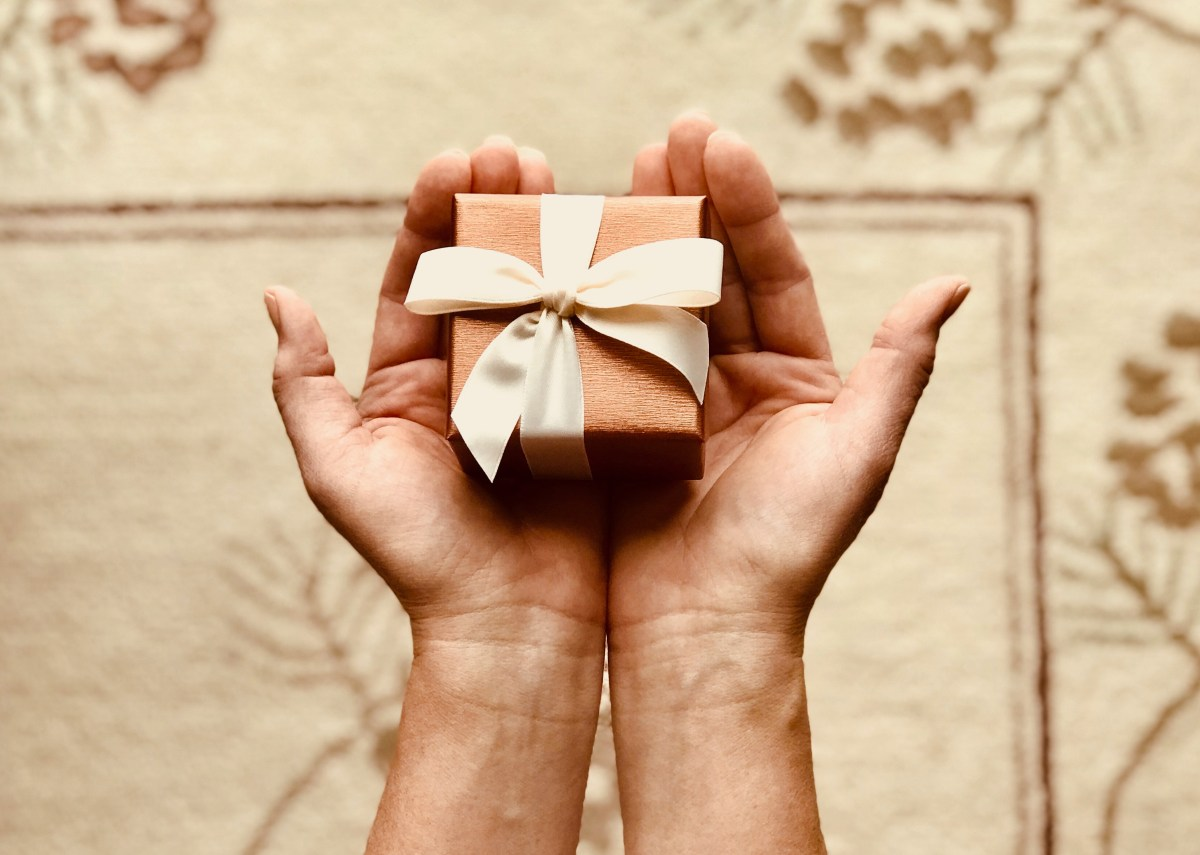 Person's Holds Brown Gift Box
