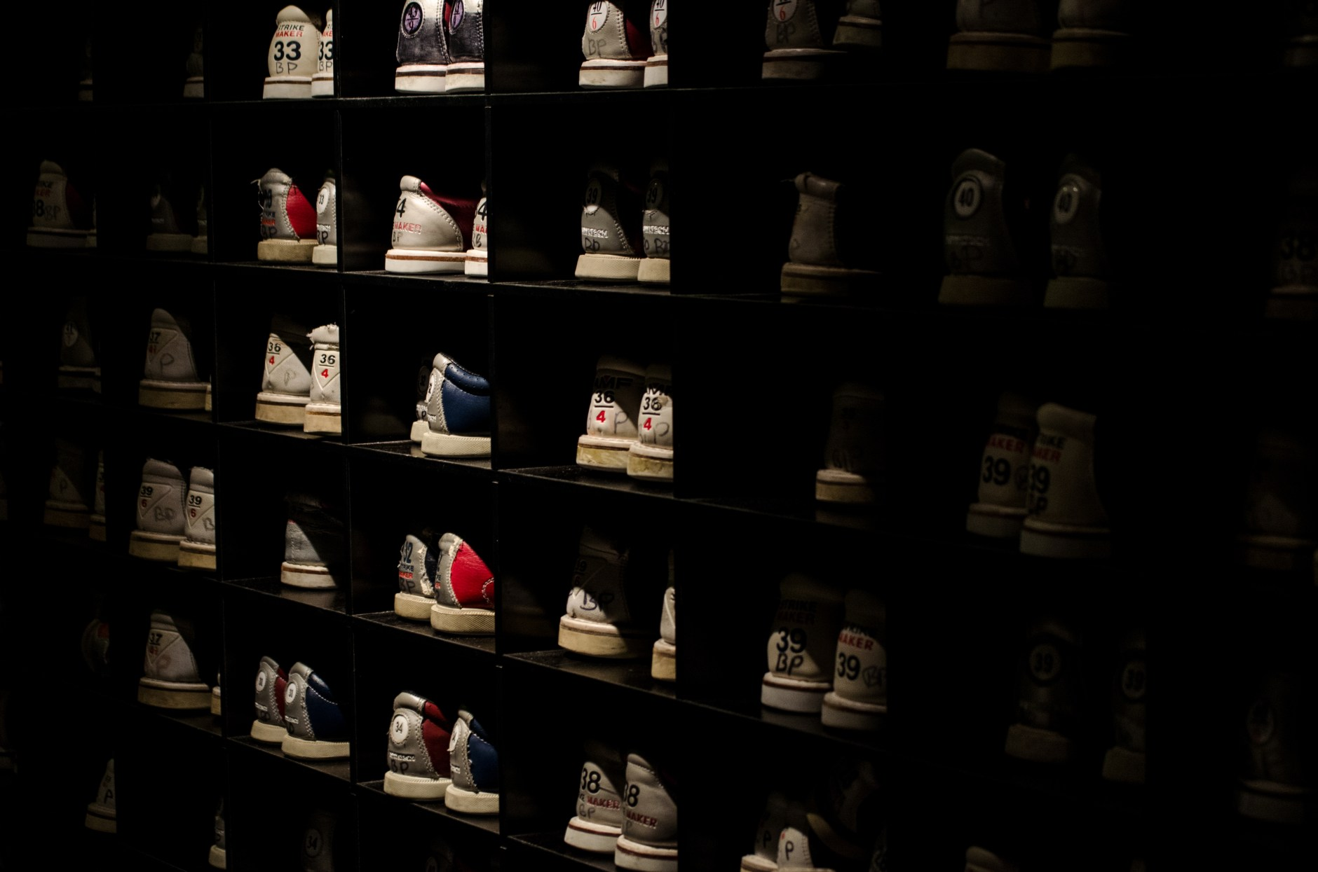 neatly organized sneakers