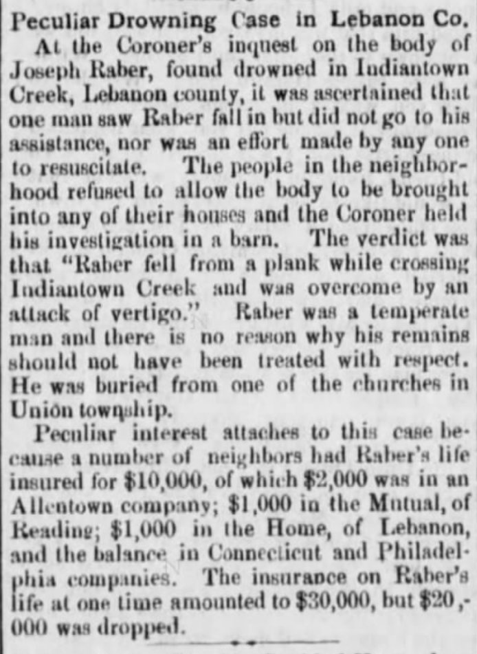"Peculiar Drowning Case in Lebanon Co At the Coroner's inquest on the body of Joseph Raber, found drowned in Indiantown Creek, Lebanon county, it was ascertained that one man saw Raber fall in but did not go to his assistance, nor was an effort made by any one to resuscitate. The people in the neighborhood refused to allow the body to be brought into any of their houses and the Coroner held his investigation in a barn. The verdict was that ""Raber fell from a plank while crossing Indiantown Creek and was overcome by an attack of vertigo."" Raber was a temparate man and there is no reason why his remains should not have been treated with respect. He was buried from one of the churches in Union township.  Peculiar interest attaches to this case because a number of neighbors had Raber's life insured for $10,000, of which $2,000 was in an Allentown company; $1,000 in the Mutual of Reading, $1,000 in the Home of Lebanon, and the balance in Connecticut and Philadelphia companies. The insurance on Raber's life at one time amounted to $30,000, but $20,000 was dropped."