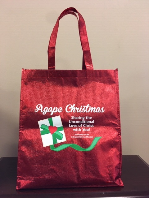 Red christmas bag filled with gifts