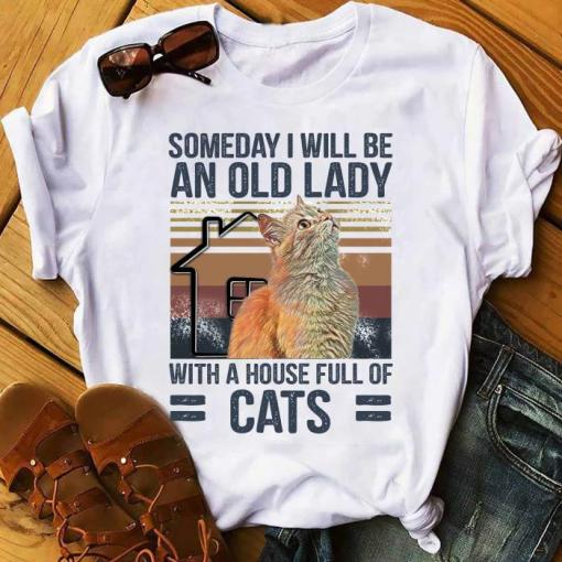 Someday I Will Be An Old Lady With A House Full Of Cats Vintage Shirt unisex, hoodie, sweatshirt