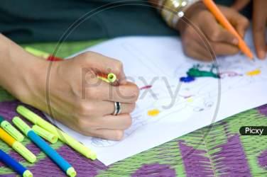Image of Indian teacher teaching drawing SB625471 Picxy