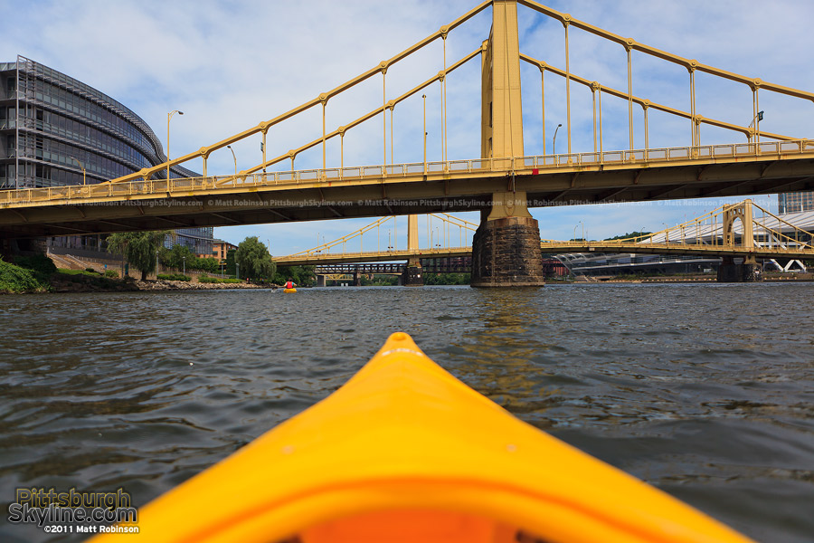 Kayaking under the three sister bridges in Pittsburgh