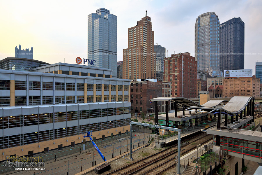 First Avenue T Station with Pittsburgh Skyscrapers