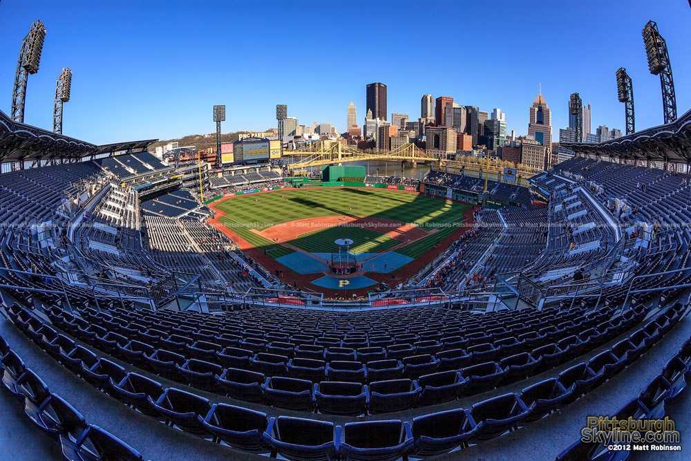 Fisheye of PNC Park during batting practice