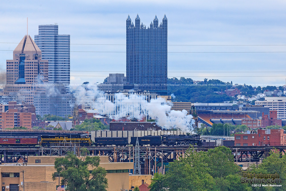 PPG Place and NKP 765 on the OC Bridge in Pittsburgh