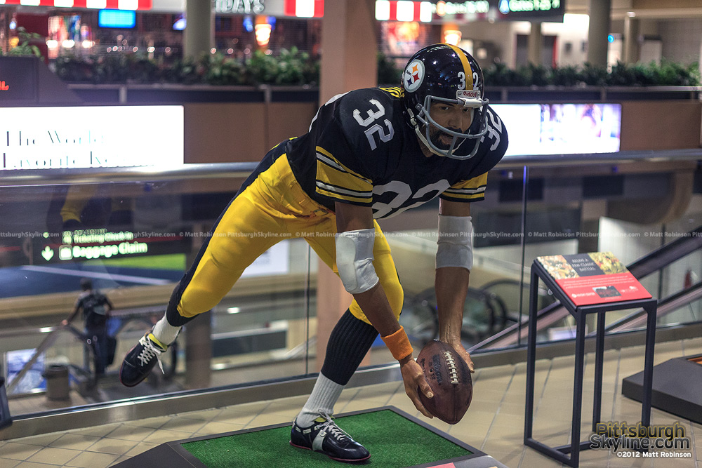 Franco Harris Immaculate Reception Statue inside Pittsburgh International Airport