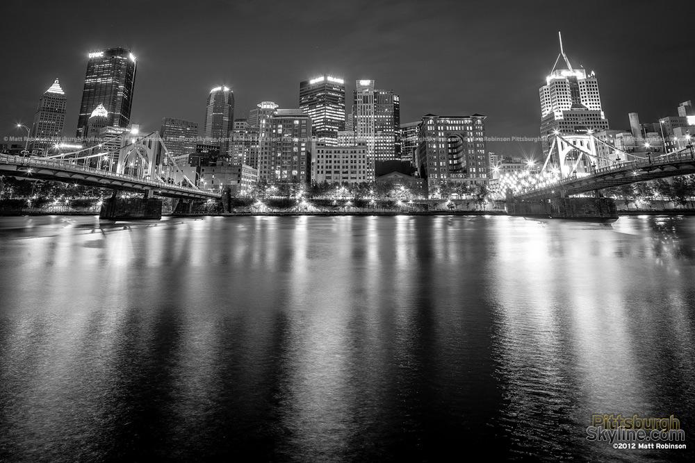 Black and White Pittsburgh at night