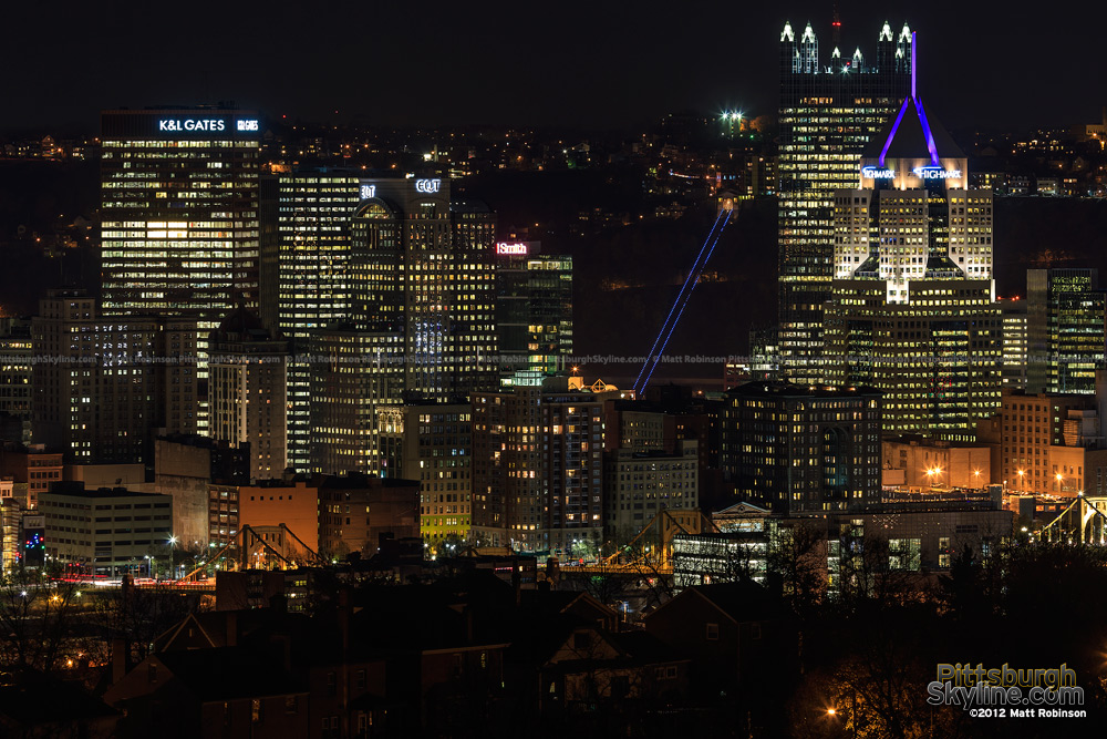 Skyline from Spring hill cemetery during Pittsburgh Light Up Night