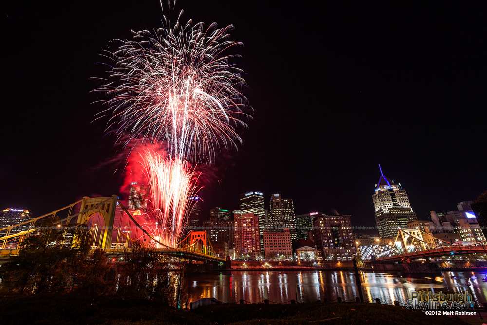 Fireworks on the Warhol Bridge Light Up Night 2012 - 2