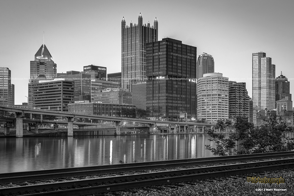 Black and White Pittsburgh Cityscape at night