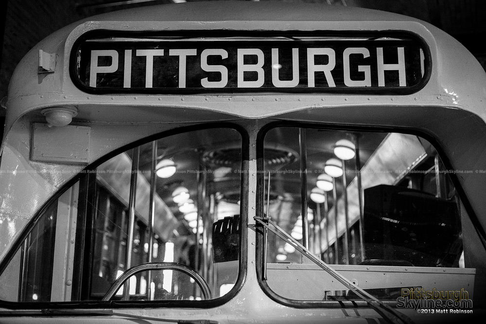 Black and White Pittsburgh Trolley